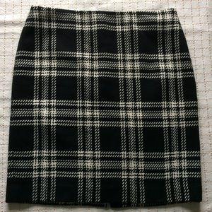 Talbots Black & White Wool Plaid Pencil Skirt, 6
